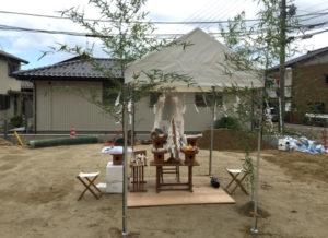 仏教式の地鎮祭の準備